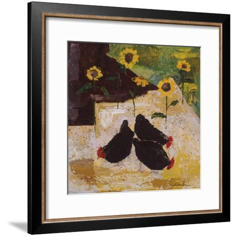 Chickens and Sunflowers-Anuk Naumann-Framed Art Print