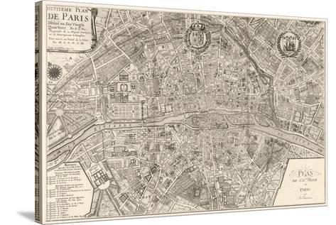 Plan de la Ville de Paris, 1715-Nicolas De Fer-Stretched Canvas Print