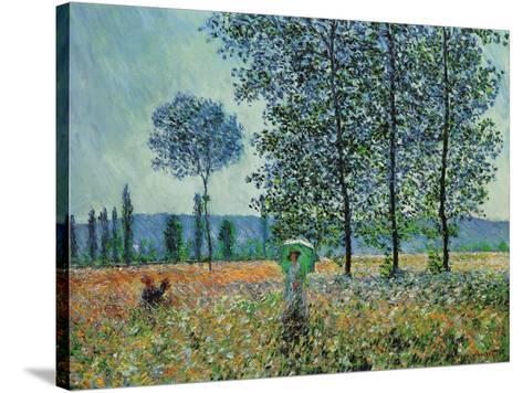 Felder im Frühling-Claude Monet-Stretched Canvas Print