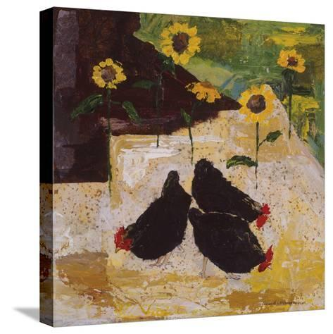Chickens and Sunflowers-Anuk Naumann-Stretched Canvas Print