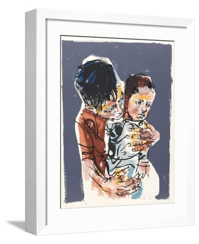 Father and Son from People in Israel-Moshe Gat-Framed Art Print