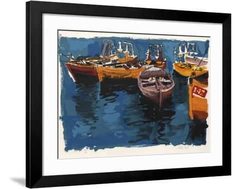 Fishing Boats from People in Israel-Moshe Gat-Framed Art Print
