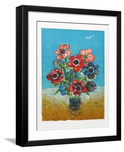 Blue and Red Flowers-Henri Westel-Framed Art Print