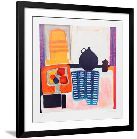 Blue Pitcher on Tablecloth-Wendy Chazin-Framed Art Print