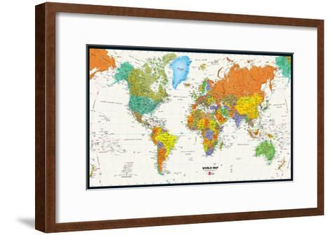 World Map Physical And Political Poster--Framed Art Print