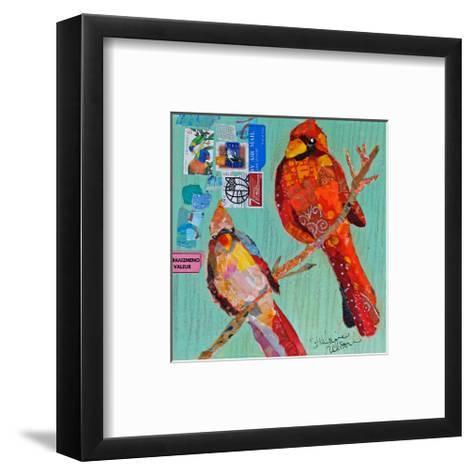 Lovebirds Cardinals--Framed Art Print
