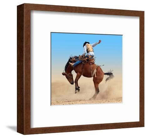 Bucking Rodeo Horse--Framed Art Print