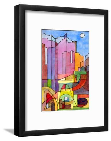 Watercolor Island Of Capri--Framed Art Print