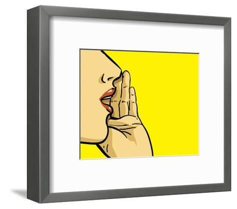 Woman Calling Spread the Word--Framed Art Print