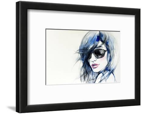 Blue Mode Fashion Illustration--Framed Art Print