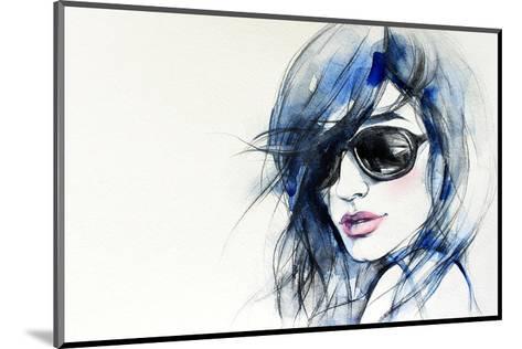 Blue Mode Fashion Illustration--Mounted Art Print