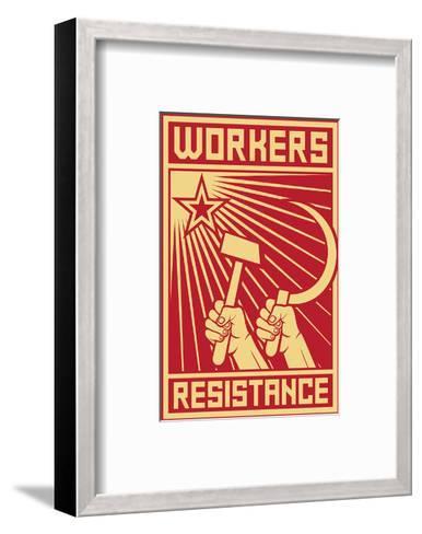 Workers Resistance Poster--Framed Art Print