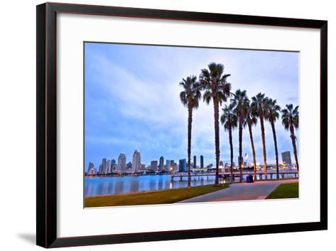 Palm Trees City San Diego Sign--Framed Art Print