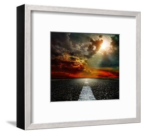 Road Clouds and Blue Sky--Framed Art Print