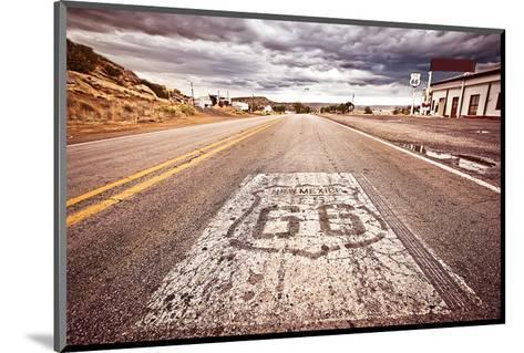 Old Route 66 Shield on Road--Mounted Art Print