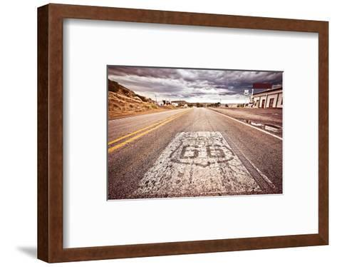 Old Route 66 Shield on Road--Framed Art Print