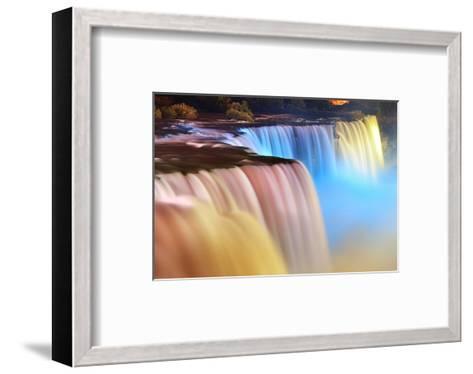 Niagara Falls Lit at Night--Framed Art Print