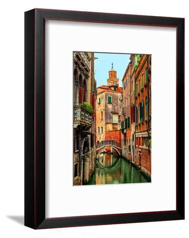 Romantic Green Venice Canal--Framed Art Print