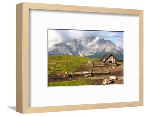 Dolomites With Chalet Italy--Framed Art Print