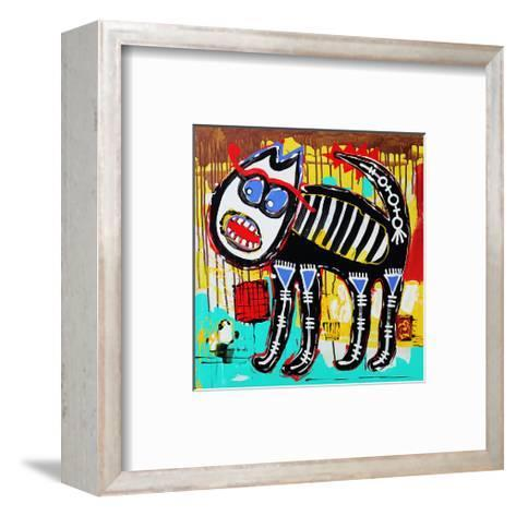 Angry Cat Doodle Acrylic Paint--Framed Art Print