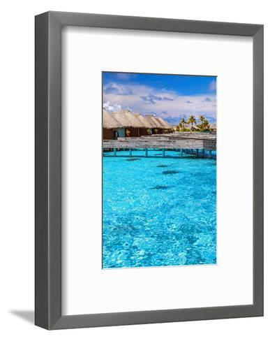 Maldives Bungalows &Blue Water--Framed Art Print