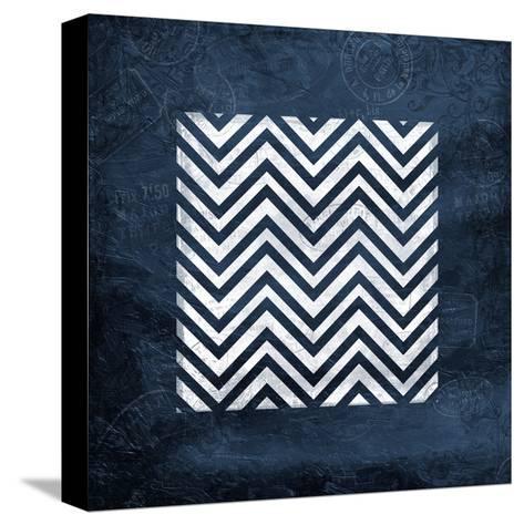 Indigo Chev Bordered-Jace Grey-Stretched Canvas Print