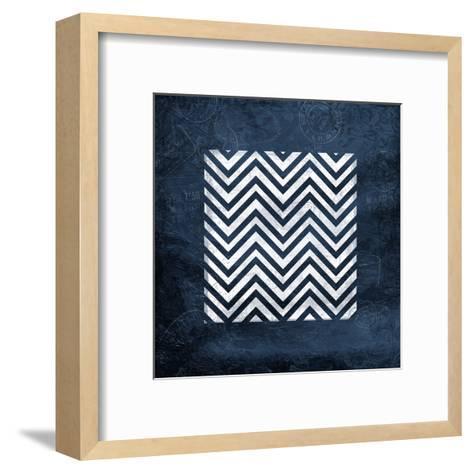 Indigo Chev Bordered-Jace Grey-Framed Art Print