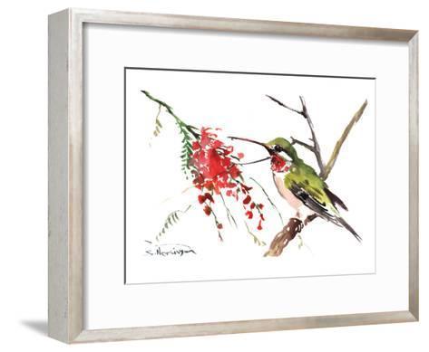 Ruby Throated Hummingbird-Suren Nersisyan-Framed Art Print