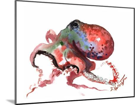 Octopus Rainbow Red-Suren Nersisyan-Mounted Art Print