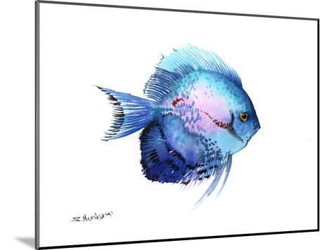 Blue Discus 2-Suren Nersisyan-Mounted Art Print
