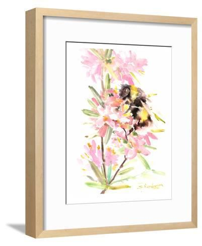 Bee And Flowers-Suren Nersisyan-Framed Art Print