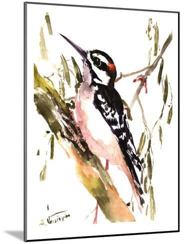 Woodpecker On Tree-Suren Nersisyan-Mounted Art Print