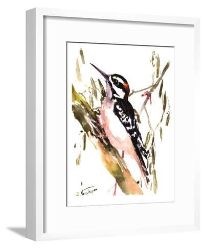 Woodpecker On Tree-Suren Nersisyan-Framed Art Print