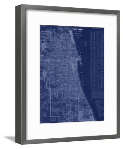 Antique Map of Chicago (blue)-Blanchard-Framed Art Print