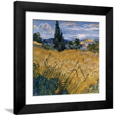 Champ de blé vert avec cypres (Détail)-Vincent van Gogh-Framed Art Print