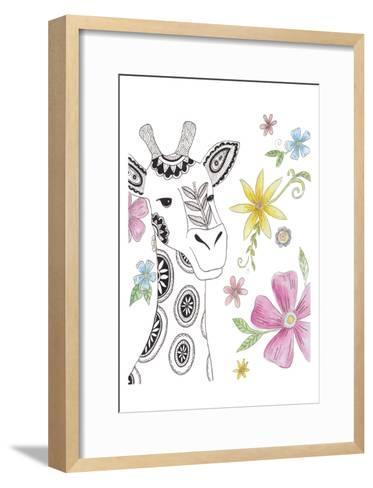 Tribal Giraffe Portrait-Pam Varacek-Framed Art Print