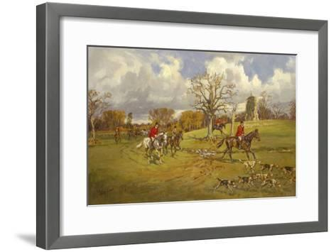 Hunting below the ruins at Knepp (Sussex) Castle-John King-Framed Art Print