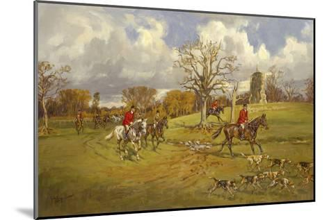 Hunting below the ruins at Knepp (Sussex) Castle-John King-Mounted Premium Giclee Print