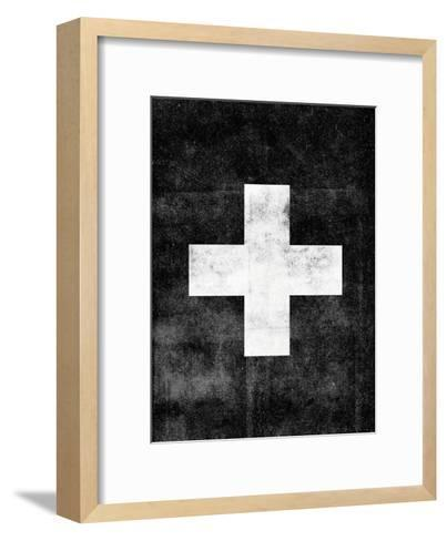 Swiss Cross on Black-Brett Wilson-Framed Art Print