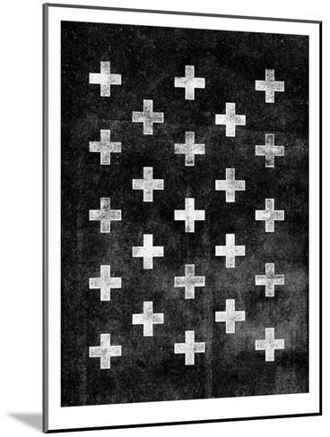 Swiss Cross Pattern BLACK-Brett Wilson-Mounted Art Print