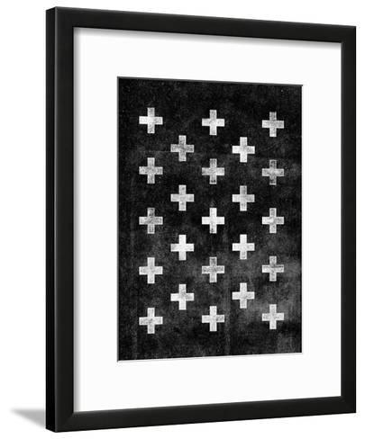 Swiss Cross Pattern BLACK-Brett Wilson-Framed Art Print