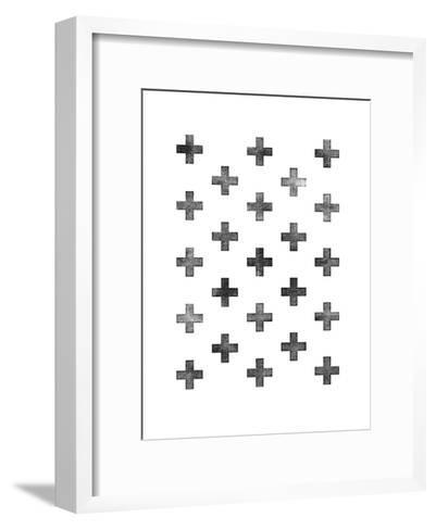 Swiss Cross Pattern on White-Brett Wilson-Framed Art Print