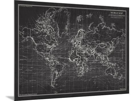 Ocean Current Map - Global Shipping Chart-The Vintage Collection-Mounted Art Print