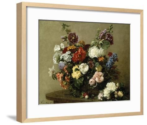 French Roses And Peonies-Henri Fantin-Latour-Framed Art Print