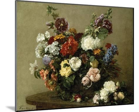 French Roses And Peonies-Henri Fantin-Latour-Mounted Premium Giclee Print
