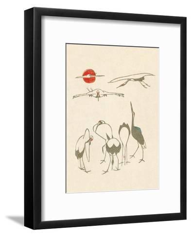 Japanese Drawing of Flying Cranes-Kitao Masayoshi-Framed Art Print