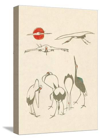 Japanese Drawing of Flying Cranes-Kitao Masayoshi-Stretched Canvas Print