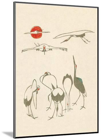 Japanese Drawing of Flying Cranes-Kitao Masayoshi-Mounted Art Print