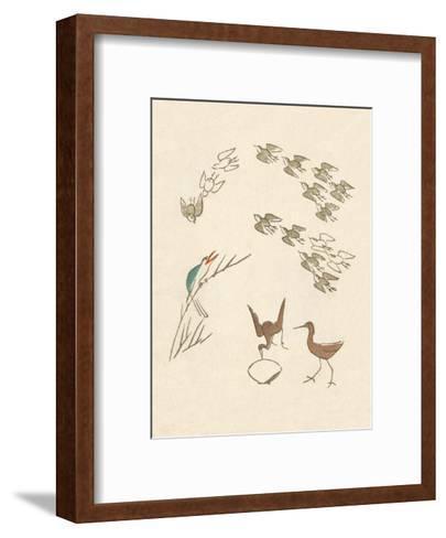 Japanese Drawing of Flight of Birds-Kitao Masayoshi-Framed Art Print