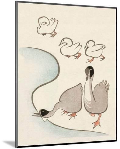 Japanese Drawing of Ducks and Geese-Kitao Masayoshi-Mounted Art Print